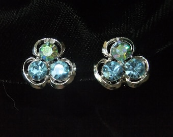 Vintage Earrings Clip On Blue Stones Silver Tone Retro Costume Jewelry
