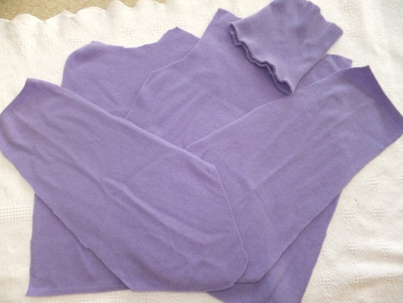 Felted Cashmere Sweater Remnants Lavender Recycled Wool Fabric Material Sewing