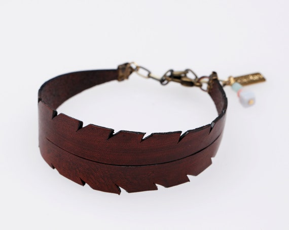 Feather Leather Bracelet in Brown