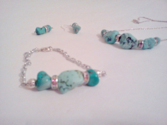 SUMMER SALE SET of Turquoise Earrings & Necklace - Chunky Nugget stone beads and Crystals by Jessentials