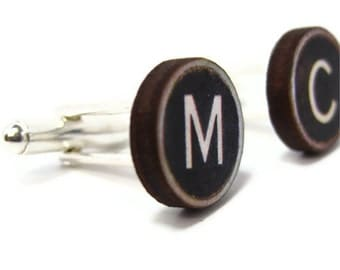 Personalised Typewriter Key Cuff Links with Silver Plated Backs.  Pick your own keys.