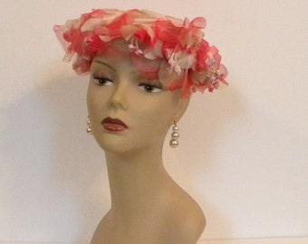 Vintage Hot Pink Flower Hat -- 1950s Designer Fashion Hat with Millinery velvet flowers