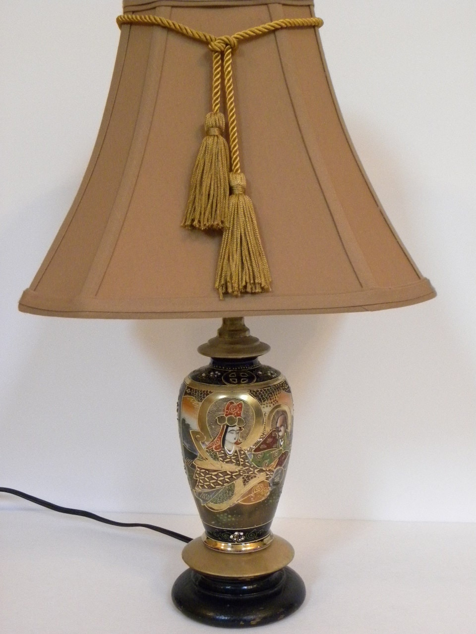 Vintage Japanese Lamp Porcelain Traditional Hand Painted