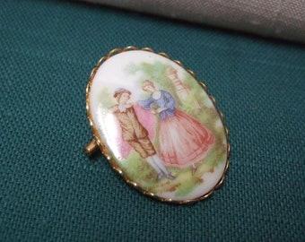 Fragonard Cameo Brooch Rococo Courtship Scene on Porcelain
