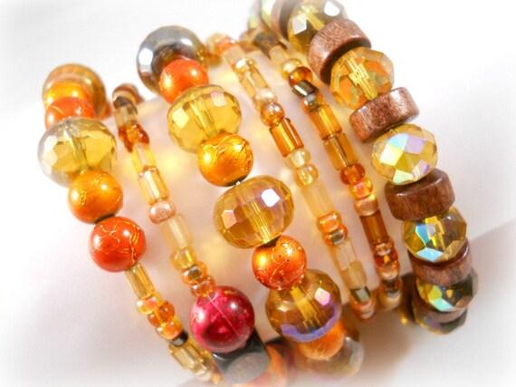 Autumn Jewelry Bracelet Set Boho Bracelet Wrap Bracelet Stacked Bracelet Burnt Orange Brown Amber Fall Fashion Fall Colors Boho Jewelry