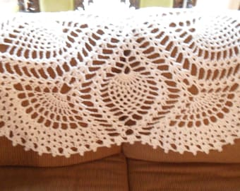 New(Ready to Ship) Crocheted Afghan - Blanket -  Throw - Bedspread   ''FIVE SIDED PINEAPPLE'' in Off-white