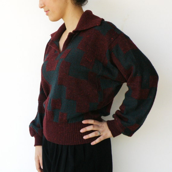 Vintage 70s sweater / 1970s Forest Green and Wine Baggy Sweater / Size M L
