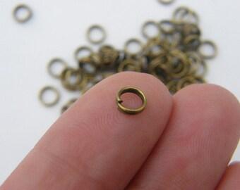 BULK 1000 Split rings 5mm antique bronze tone