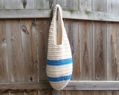 Blue and Cream Market Bag Beach Tote ( 100% cotton )