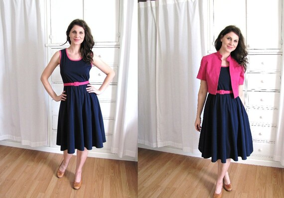 Vintage 1970's Navy Blue and Hot Pink Day Dress and Jacket