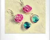 Hot Pink Resin Flower Cabochon, Turquoise Glass Pendant, Silver Earrings