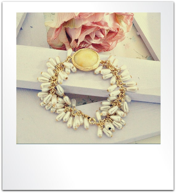 22k Gold Plated Yellow Jade Connector, 16k Gold Plated Glass Pearl Beaded Chain Bracelet