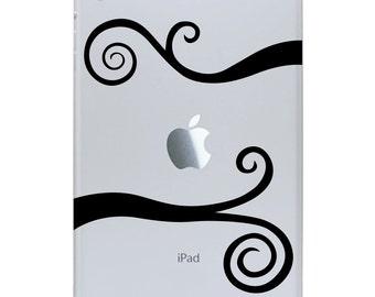 iPad Mini Decal Wavy Scrolls - iPad Sticker - Swirl Tablet Decal