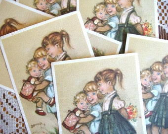 Bonnie Linen Postcard Set of 6 - Sisters Little Girls  Vintage Unused
