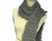 Grey Merino Wool Hand Knit Scarf
