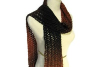 Sale Variegated Burnt Umber and Black Hand Knit Lacy Scarf