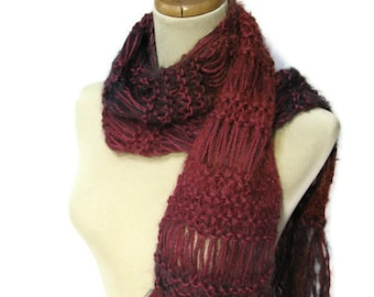 Hand Knit Scarf, Raspberry Scarf, Knit Scarf, Red Scarf, Knitted Scarf, Womens Scarf, Fiber Art, Winter Scarf, Fashion Scarf, Wool Scarf