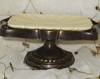 Vintage Pedestal Soap Dish Metal 1970s Cottage Chic