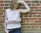 SALE Edgy ruffled Tank/ Ruffled tunic/ Hand dyed cotton top/ Tan/  Edgy top/ Rusteam bioteam teamstyle tt team