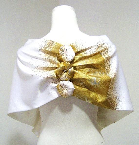 Bridal KIMONO Shawl white & gold crane plus OHANA -flower free size made to order
