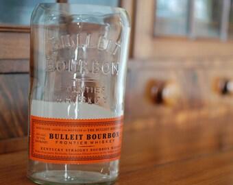 One Upcycled Glass Bulleit Bourbon Frontier Whiskey Bottle Vase Eco-Friendly Home Decor Orange Label