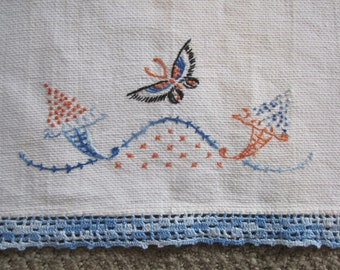 Hand Towel BUTTERFLY embroidered BLUE crocheted 24x15