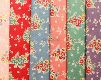 6 pieces of fabrics -  Natural bouquet by Atsuko Matsuyama printed in Japan