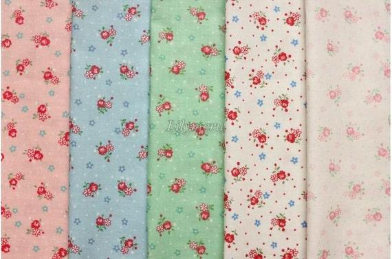 5 pcs of fabrics  - Little  Flower by Atsuko Matsuyama - Printed in Japan