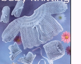 BABY KNITTING PATTERN - Dress/Coat, Bonnet, Booties, Mittens 4 ply yarn 18-19 in chest