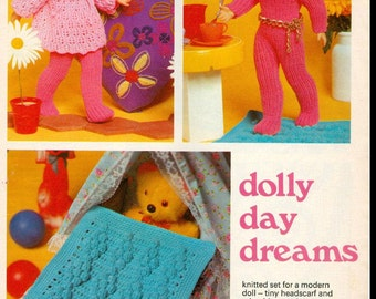 PDF DOLL PATTERN Knit and Crochet Wardrobe for Dolly - Smock Top, Pram/Cot Cover, Jumpsuit, Headscarf