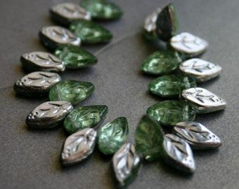 Silver Mint Czech Glass Leaves