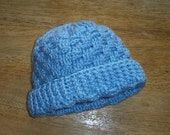 Basketweave Baby Hat  in Blue - 3-6 Month Size