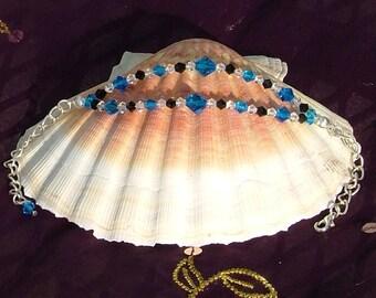 Blue And Black 2 Strand Bracelet With Swarovski Crystals