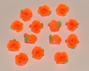 Bright Orange Polymer Clay Rose Flower Beads 10mm