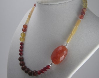 Autumn Colors Asymmetrical Necklace - Carnelian Necklace - Gemstone Jewelry - Single Strand Necklace - Red and Orange Fall Colors - VALIANT