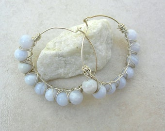 Blue Agate & Sterling Silver Wire-Wrapped Handcrafted Earrings by SandraDesigns
