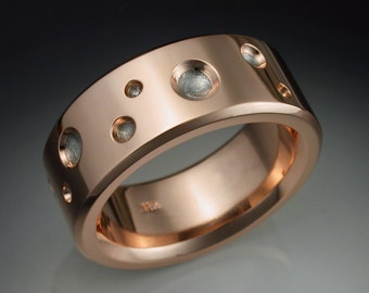 14k rose gold mans ring with Gibeon Meteorite craters