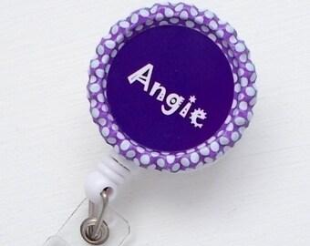 Personalized Purple Polka Dot - Bottle Cap ID Badge Reel - Nurses Badge Holder - Name Tag Holder