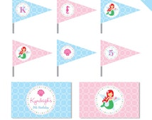 Mermaid Party - Personalized DIY printable straw flags and napkin rings - Choose your own mermaid
