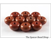SALE 45% off - 7mm CINNAMON CORAL Brown Glass Lampwork Beads Spacer Handmade The Spacer Bead Shop