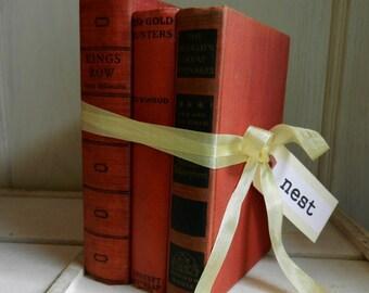 Red Vintage Book Stack