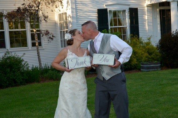 Wedding Chair Signs Mr. and Mrs. and/or Thank and You. 6 X 12 inches.  Wooden Wedding Signs for your Photo Props or Reception.