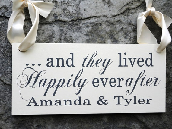 Here Comes the Bride with And they lived Happily Ever After w/ Bride and Grooms Name, 8 X 16 in. 2-sided. Ring Bearer, Flower Girl.