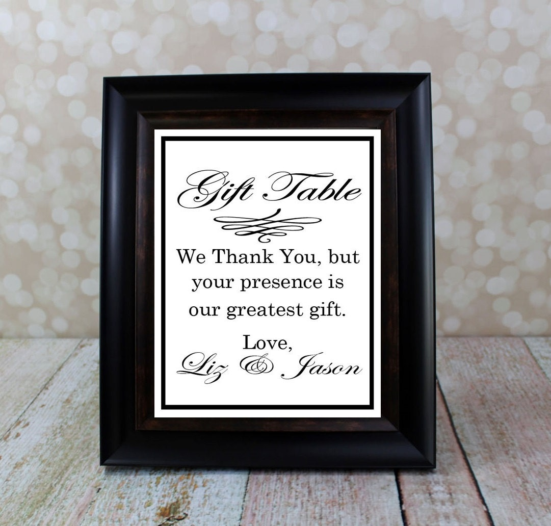 Wedding Gift Sign Reception Table Sign Thank By