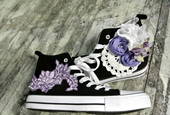 Embellished shoes, country chic shoes, womens high tops, cottage, funky, fall, true rebel clothing, romantic, boho