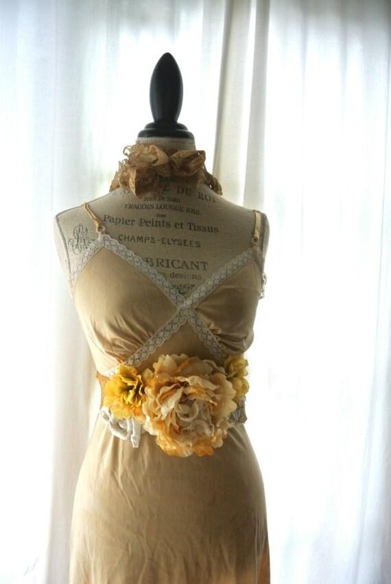 Gypsy cowgirl slip dress, romantic, boho, farm girl chic, vintage, recycled, bohemain, fall wedding, party dress, sundress