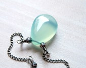 Light Aqua Blue Chalcedony Necklace in Oxidized Sterling Silver - karinagracejewelry