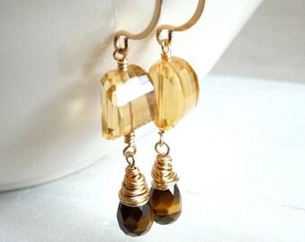 Citrine Earrings, November Birthstone, Tigers Eye Earrings, Faceted Nugget Earrings, Gold Filled Earrings, Under 50