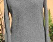 Vtg 80s Grey CASHMERE Cable Knit V Neck Long Sleeve Sweater