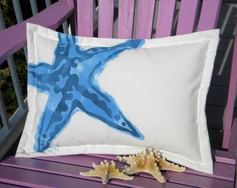 "Outdoor pillow KNOBBY SEA STAR starfish blue 15""x20"" lumbar coastal beach ocean saltwater seashore beach echinoderm Crabby Chris Original"